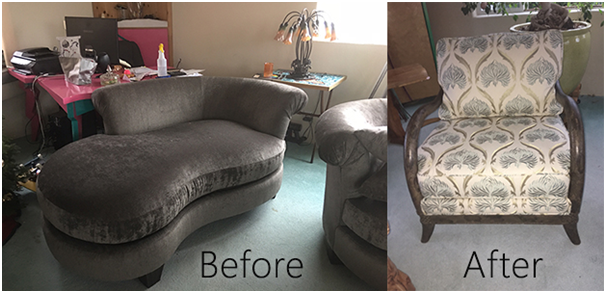 Before and After reupholstering furniture