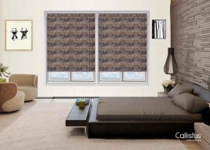 Roller blinds with grey and brown from Callistus Blinds