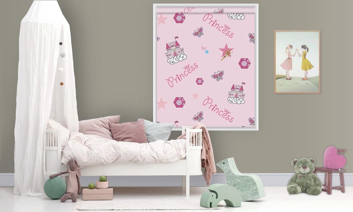 Roller printed blinds pink princess