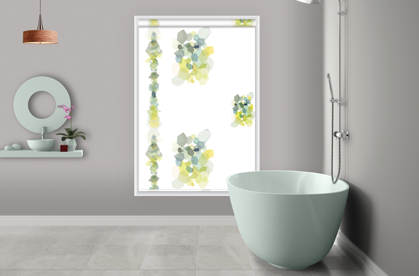 Roller printed blinds yellow blue green design