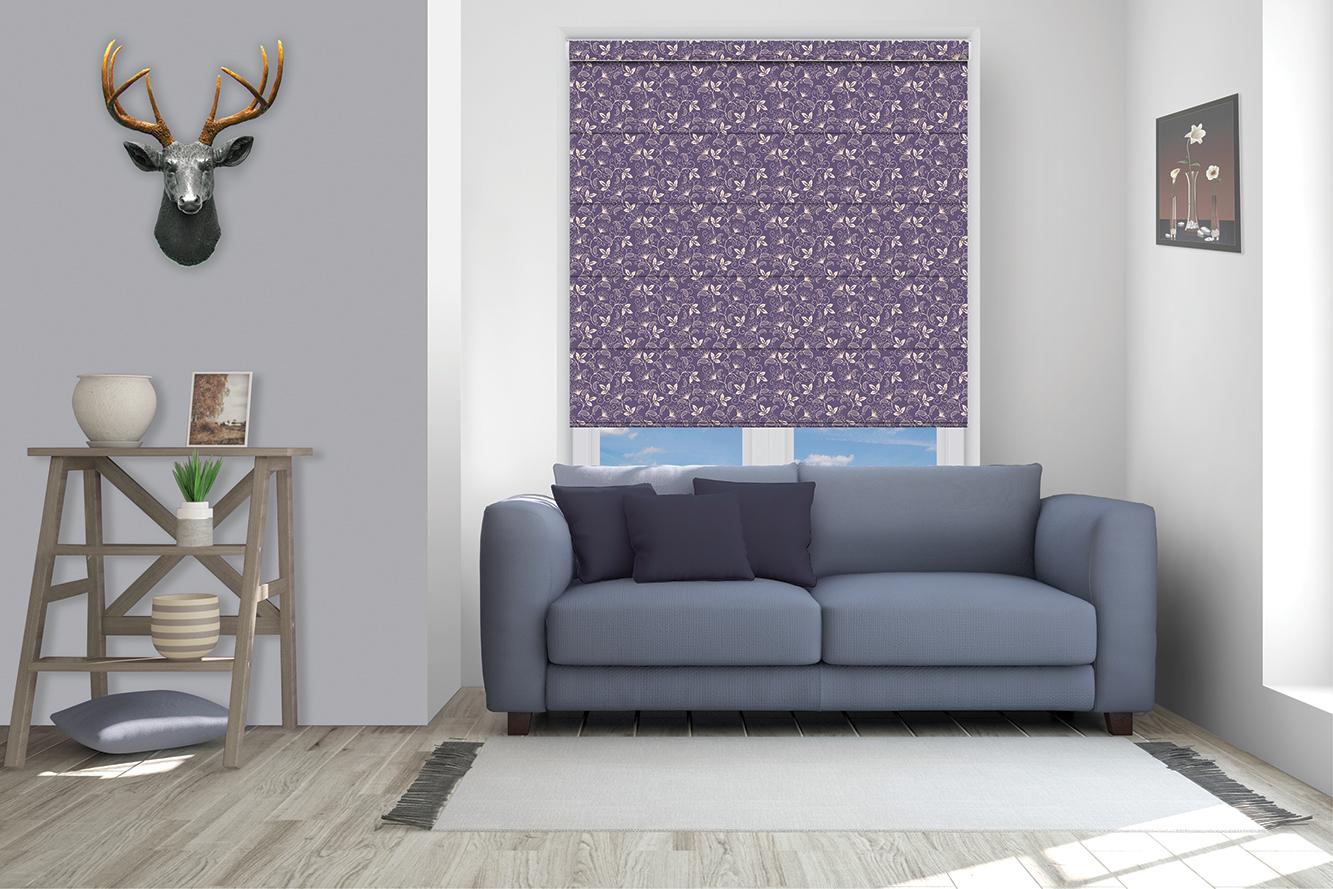 Roman printed blinds purple
