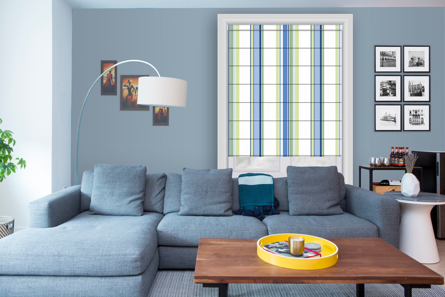 Roman printed blinds striped blue green white