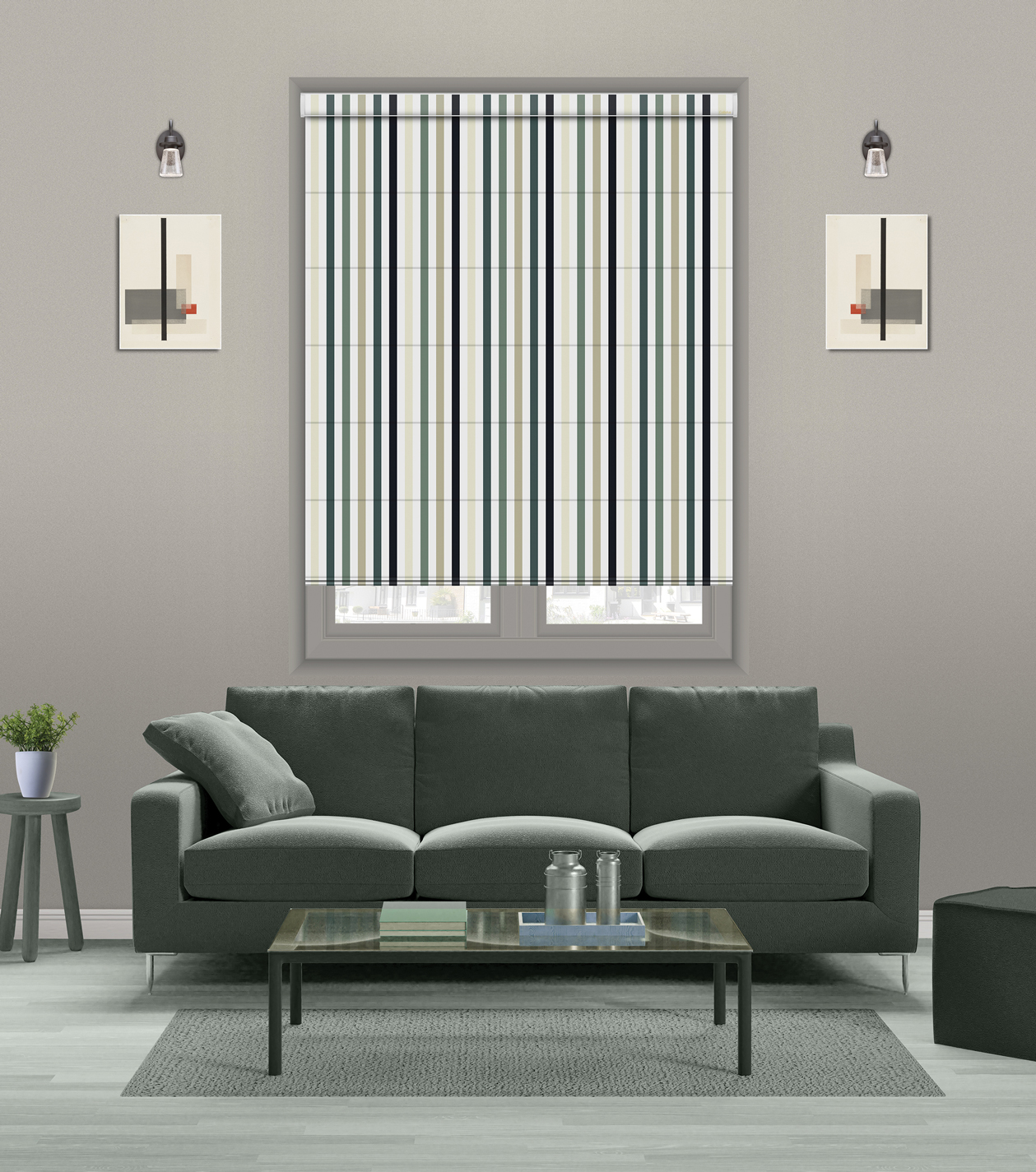 Roman printed BLINDS striped vertical