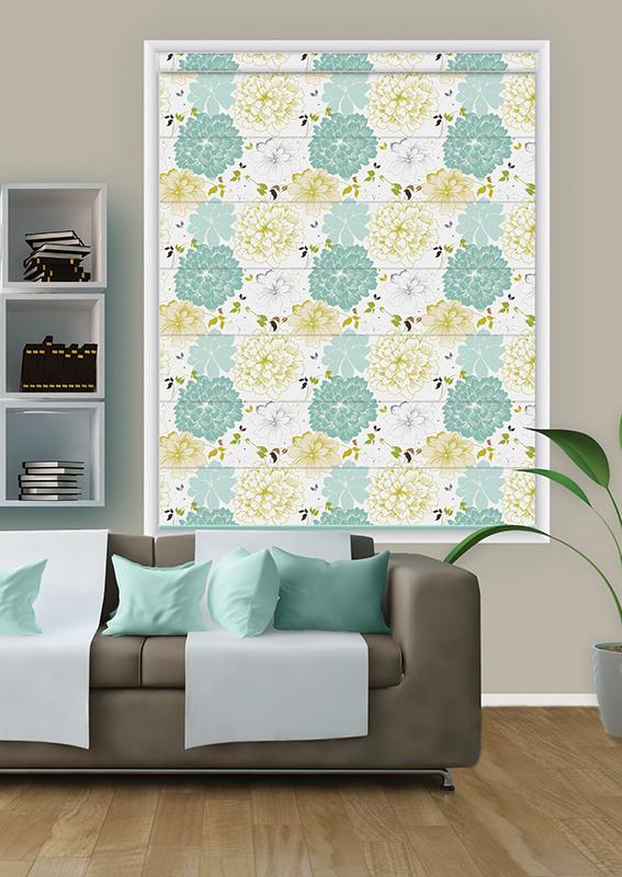 Roman printed blinds tan white circle design
