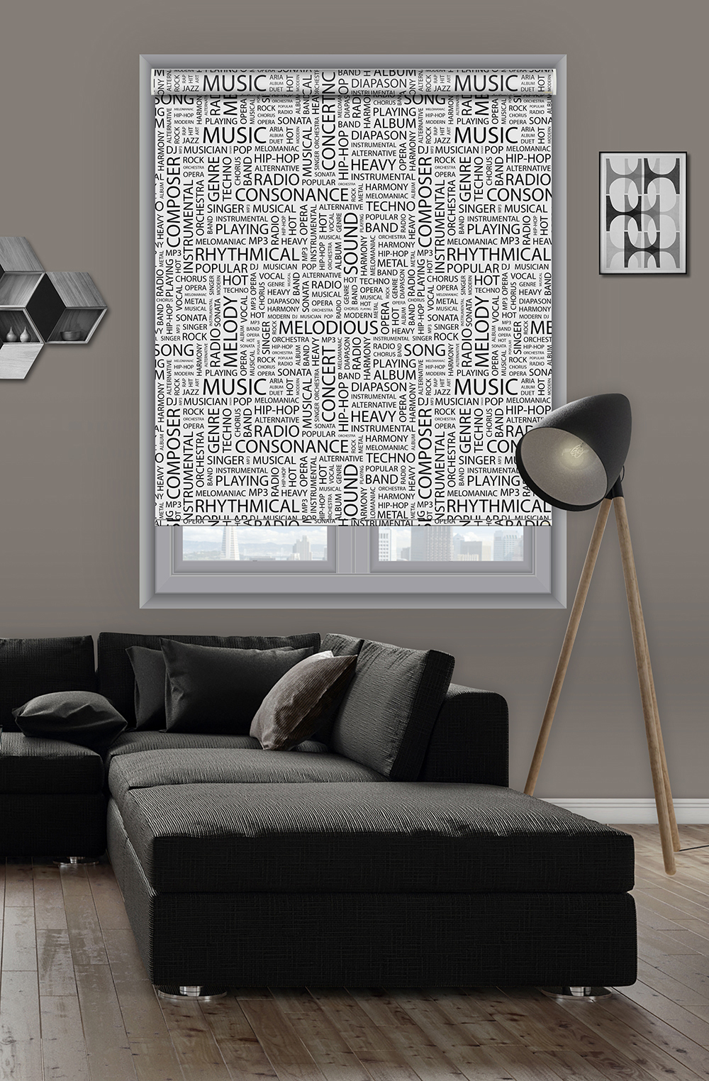Roller printed BLINDS with words